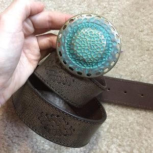 COLE HAAN Leather belt Round Turquoise Belt Buckle